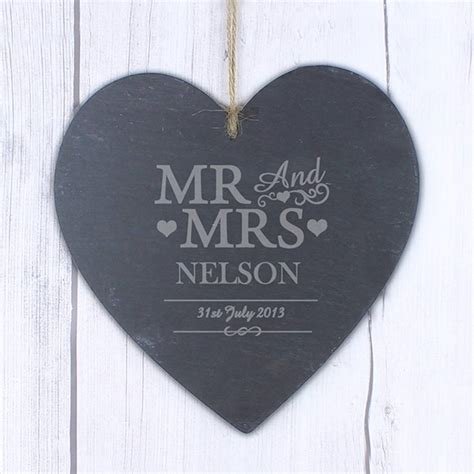 mr and mrs personalised slate heart by hope and willow