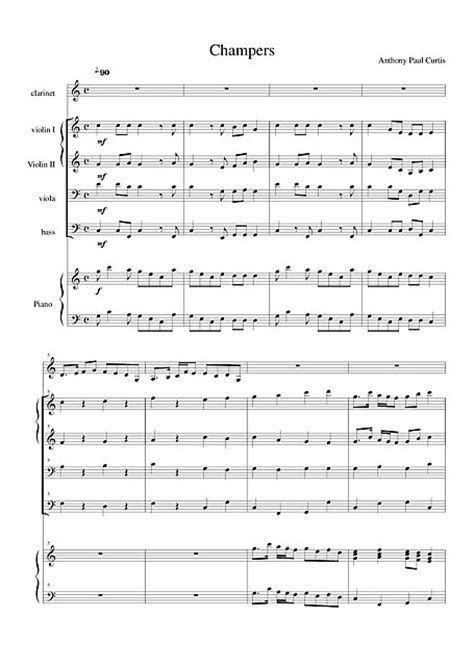 Champers (Champagne) Clarinet string orchestra piano