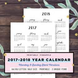 2018 Year At A Glance Calendar Printable 2017 2018 Calendar Printable Year At A Glance Yearly Agenda