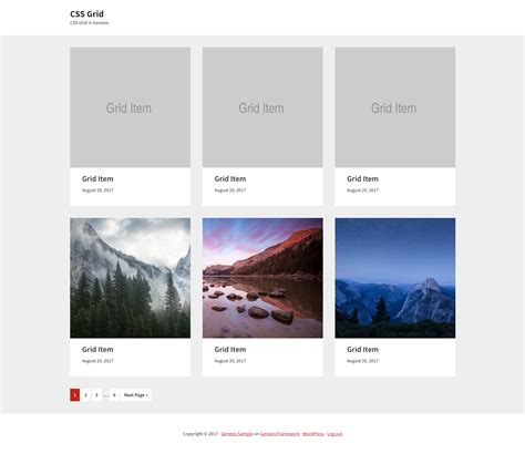grid layout demo genesis archive template using css grid
