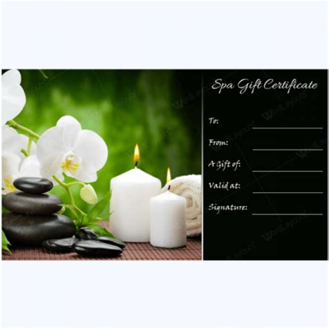 free spa gift certificate template printable gift certificate 26 word layouts