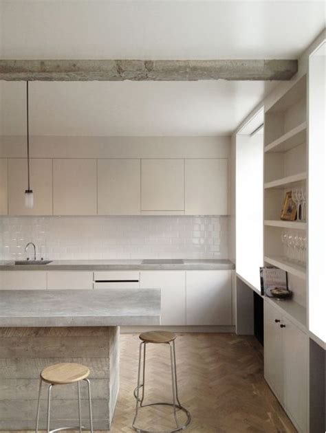 subway tile backsplash islands and exposed concrete on