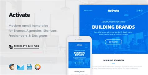 Activate Modern Emails Online Template Builder By Activeoo Themeforest Envato Email Templates
