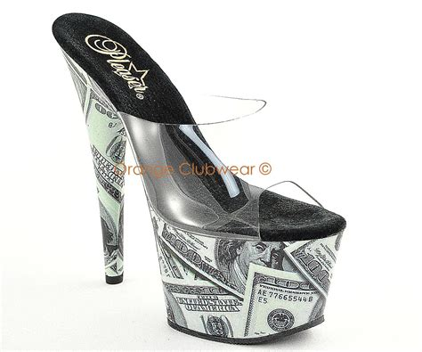 striper high heels pleaser womens platform high heels money print