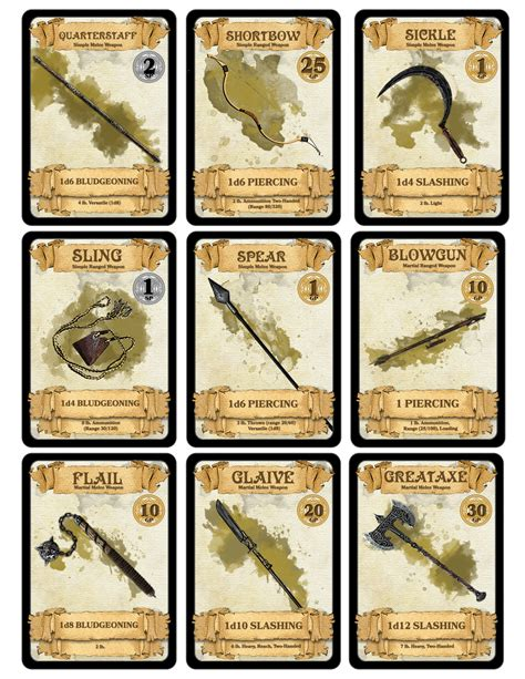d d 5e item card templates dm paul weber weapon cards for d d 5th