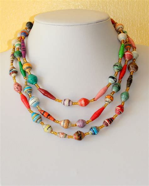 Paper Jewelry - design necklace rolled paper paper mache