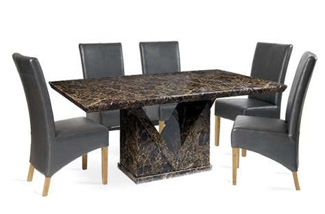 Cannes Dining Table Mocha 180cm Marble Effect Dining Table With 4 Cannes Grey Chairs Brown Furnishings