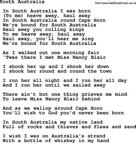 australian sog pin sea shanty lyrics shanties sheet on
