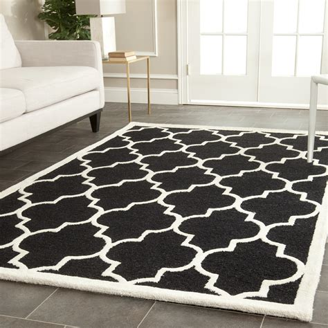 Contemporary Area Rugs Safavieh Cambridge Black Ivory Wool Contemporary Area Rug Cam134e Ebay