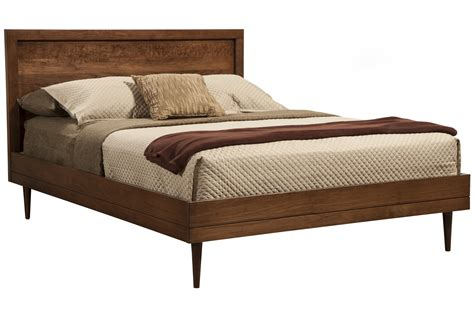 mid century modern solid wood king size bed frame with