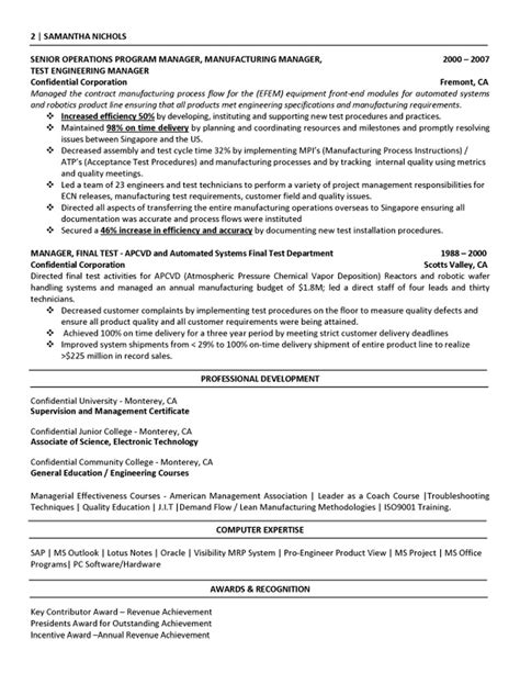 resume sles for production engineer manufacturing engineer resume best template collection