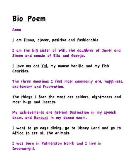 biography poem templates bio poem bio poems pinterest bio poem exles