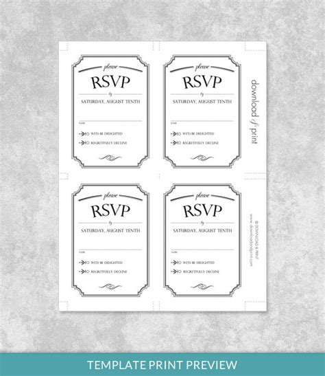 wedding rsvp cards template free vintage wedding type rsvp card template print