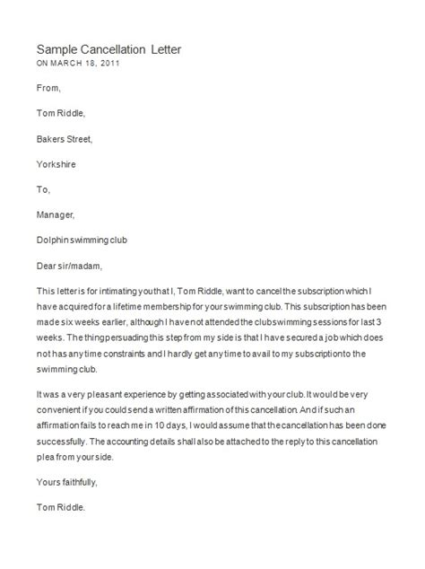 Cancellation Letter For An Event Cancel Letter Format Best Template Collection
