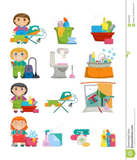 music for cleaning house domestic tools for cleaning the house on white background stock illustration image