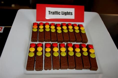 light snacks for party traffic lights cars party food kit kat or oreo wafer