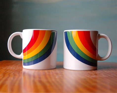 rainbow mug set vintage his and hers coffee cups