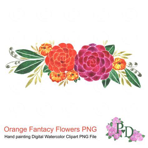 Multi Colored Chandelier Watercolor Clipart Orange Flowers Clip Art Floral Design