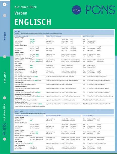 Anschreiben Auf Englisch Verfaben Pons Verben Auf Einen Blick Englisch Pons