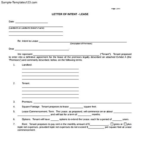 Binding Letter Of Intent To Lease Letter Of Intent Real Estate Lease Sle Templates