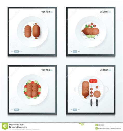 Safira Abstrack Set 4in1 Diskon sausage set 4 in 1 stock vector image 63503020