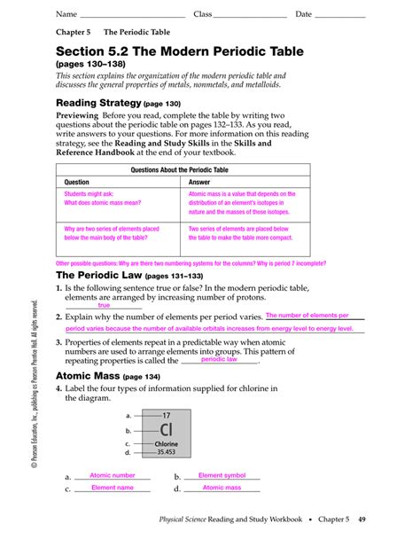 The Periodic Table Worksheet Section 3 Brokeasshome Com