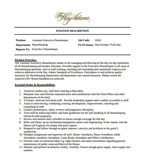 Resume Sles For Executive Housekeeper Sle Housekeeping Resume 11 Documents In Pdf Word