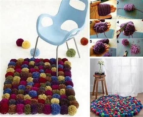 How To Sew Rugs Together Diy Colorful Pom Pom Rug