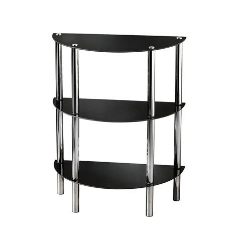 half moon semi circle shelf unit 3 tier glass shelves