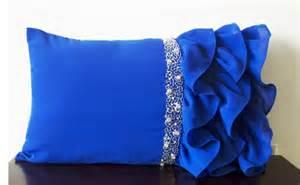 Blue Lumbar Throw Pillow Royal Blue Ruffled Throw Pillows Ruffle Pillows 12x20