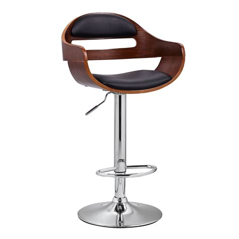 Bar Stools Leather Wood by Joveco 360 Degree Swivel Adjustable Modern Leather Wood