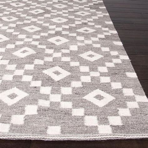 Geometric Pattern Area Rugs Flat Weave Geometric Pattern Grey Ivory Wool Area Rug