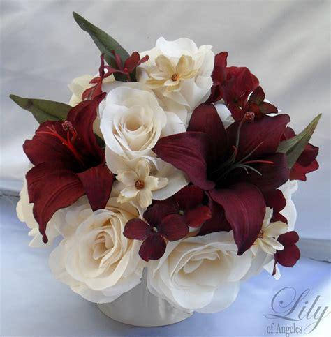 4 centerpieces wedding table decoration center flowers silk ivory burgundy ebay