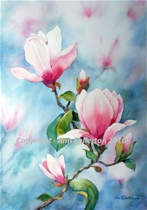 magnolias floral akvarel liljer og blomster