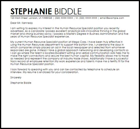 cover letter exles for human resources sle cover letter for a human resources position image