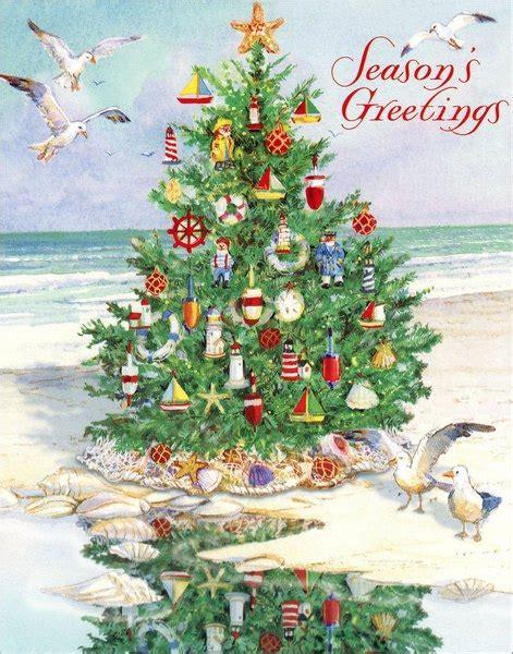 tree  beach nautical christmas card  red farm studios