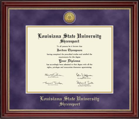 Mba Diploma Frame by Louisiana State At Shreveport Gold Engraved