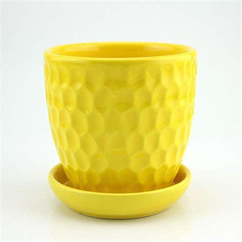 ceramic flower planter pot with saucer pineapple design