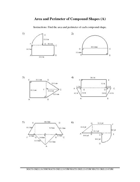 Area Compound Shapes Worksheet Answers by Measurement Worksheet Area And Perimeter Of Compound
