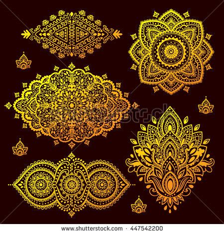 indian floral set ethnic mandala ornament vector henna mandala set other elements vector ornament stock vektor