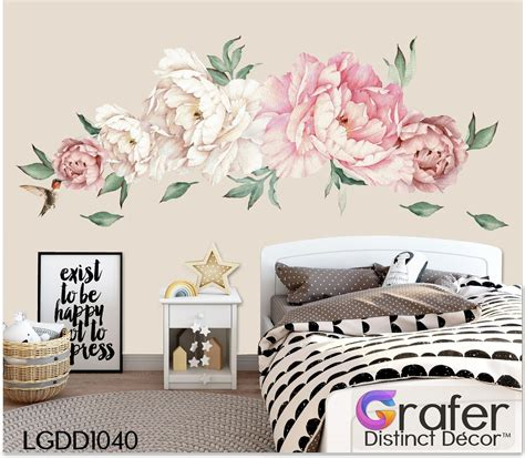 peony flowers decal watercolor peony large  adhesive