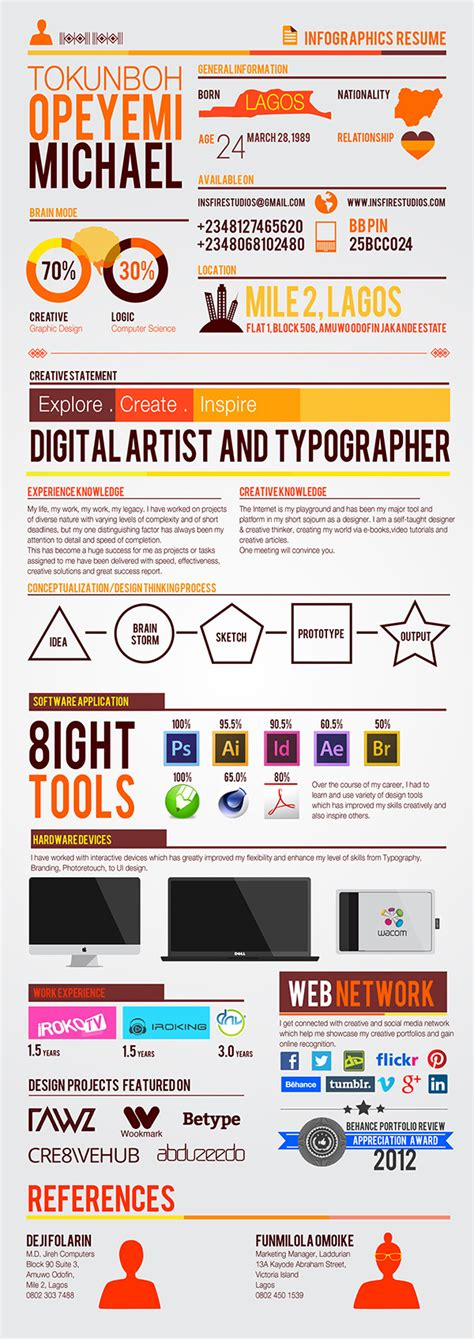 Infographic Resume App self branding infographics resume on behance