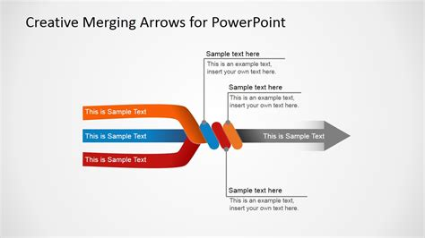 arrow powerpoint template slide with 3 arrows converging in 1 arrow slidemodel