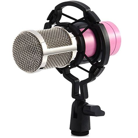Cuci Gudang Professional Condenser Studio Microphone With Shock recording microphone professional condenser mic with shock mount and anti wind foam cap for ham