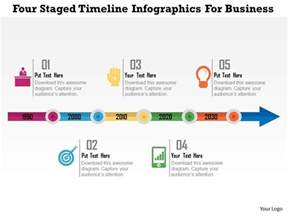 five staged timeline infographics for business flat