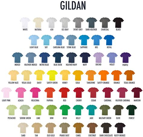 gildan t shirt color chart gildan colors gildan color chart 65 polos t shirts