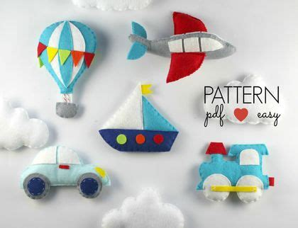 pattern felt car felt transportation sewing pattern set diy baby mobile