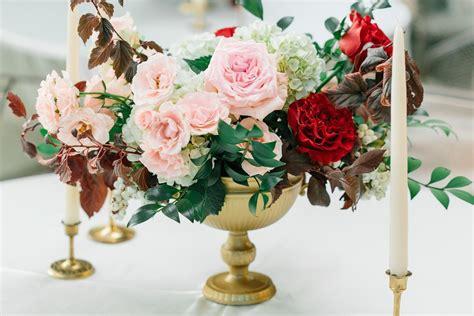 Gold Urn Centerpiece Blush And Burgundy Wedding Burgundy Wedding Centerpieces