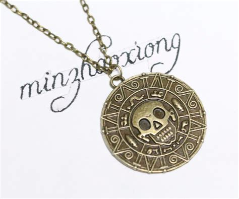 Choker Necklace Black Vintage Bronze Coin Kalung Handmade of the caribbean aztec coin medallion skull pendant chain necklace antique bronze