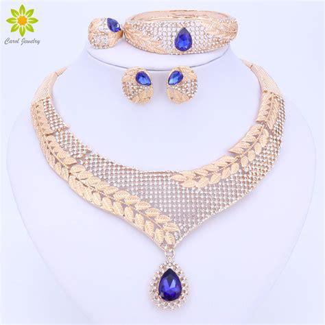 exotic nigerian beaded necklace design dubai crystal jewelry set luxury gold color big nigerian